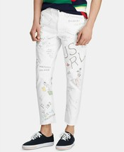 New Polo Ralph Lauren Limited Run Tapered Fit Graphic White Chino Pants 34 X 30 - $118.79