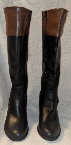 Arizona Jeans Co. Knee High Black And Brown Zip Up Boots