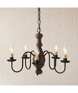 Primitive Country 5 Arm Light Lancaster Wood Chandelier In Americana Esp... - $273.19