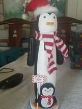 "14"" Penguin Snow x-mas Nutcracker with North Pole Flag upc 713733099974 - $77.98"