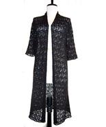 EILEEN FISHER 100% Italian wool crinkle lace sweater duster open front b... - $74.50