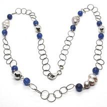 Halskette Silber 925, Kyanit Blau Rund, Perlen Barock-Stil Graue, 72 CM - $175.87