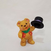 "Teddy Bear Top Hat Hallmark Resin 1"" 1996 Merry Miniatures Snowbear Season - $9.99"