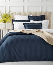 New Charter Club Damask Wide Stripe Navy Blue KING Duvet Comforter Cover... - $97.99