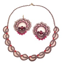 Tatting - Needle Tatted Smoke Gray and Rose colored Beaded Necklace and ... - $39.95