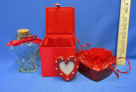 Heart Shape Clear Glass Bottle with Cork Top Red Trinket Lined Satin Box... - $15.98