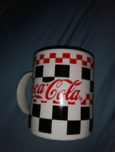 Coca Cola Red Black Checkered Coffee Mug  Gibson 1996 - $6.79