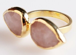 New Janna Conner Women's Gold Plated Rose Quartz Fashion Ring Size 7 image 2