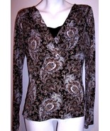 Perseption Concept Top L Black Beige Paisley Stretch Knit Boho 2Fer Shir... - $14.25
