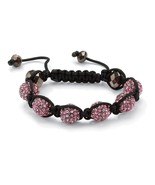 PalmBeach Jewelry Pink Crystal & Glass Accent Macrame Rope Tranquility B... - $12.49