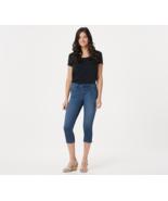 Laurie Felt Silky Indigo Denim Capri Pull-On Jeans, Denim Blue ,Size L ... - $49.49