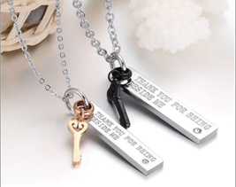 His & Hers Matching Set Titanium Stainless Steel Couple Pendant Love Nec... - $27.77
