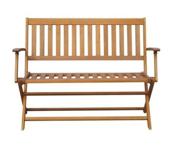Outdoor Folding Bench Seat Garden Solid Wood Armrest Backrest Seater Wooden New