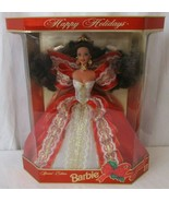 Barbie 1997 10th Anniversary Happy Holidays Special Edition Brunette Red... - $19.79
