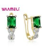 Luxury Female Green Cubic Zircon Buckle Stud Earrings Women 925 Sterling Silver  - $10.06