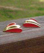 Fabulous Red Trifari Post Earrings, Angel Wings, Fairy Wings, Red Enamel - $20.00