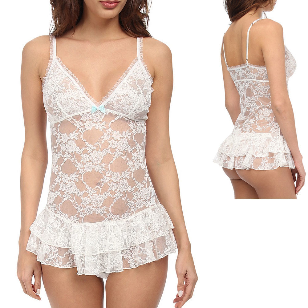Primary image for New Size Large BETSEY JOHNSON Romantic Lace Ruffle Thong Teddy In Ivory 730917
