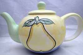Teapot Fruit Pear Grapes Yellow Green Blue Tea Pot Hand Painted - $25.74