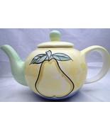 Teapot Fruit Pear Grapes Yellow Green Blue Tea Pot Hand Painted - $25.74
