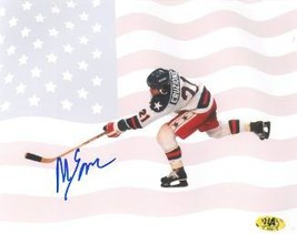 Mike Eruzione signed 1980 Team USA Olympic Hockey 8x10 Photo w/ Flag- Game Winni - $33.95