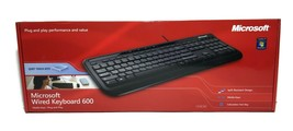 Microsoft Wired Keyboard 600 Black ANB-00001 1366 Quiet Touch Usb Mac Pc - $19.79