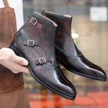Handmade Men's Brown High Ankle Triple Monk Strap Leather Boots image 1