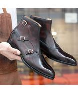 Handmade Men's Brown High Ankle Triple Monk Strap Leather Boots - $149.99+