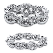 "PalmBeach Jewelry Crystal Accent Silvertone 2-Piece Stretch Bracelet Set 8"" - $22.49"