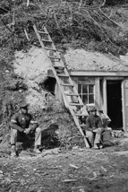 African American soldiers watch over a bomb proof shelter - $19.97