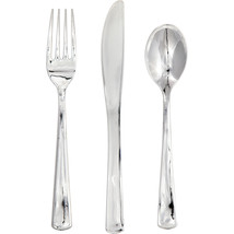 Silver Metallic Plastic Cutlery Assortment/Case of 288 - ₨5,412.29 INR