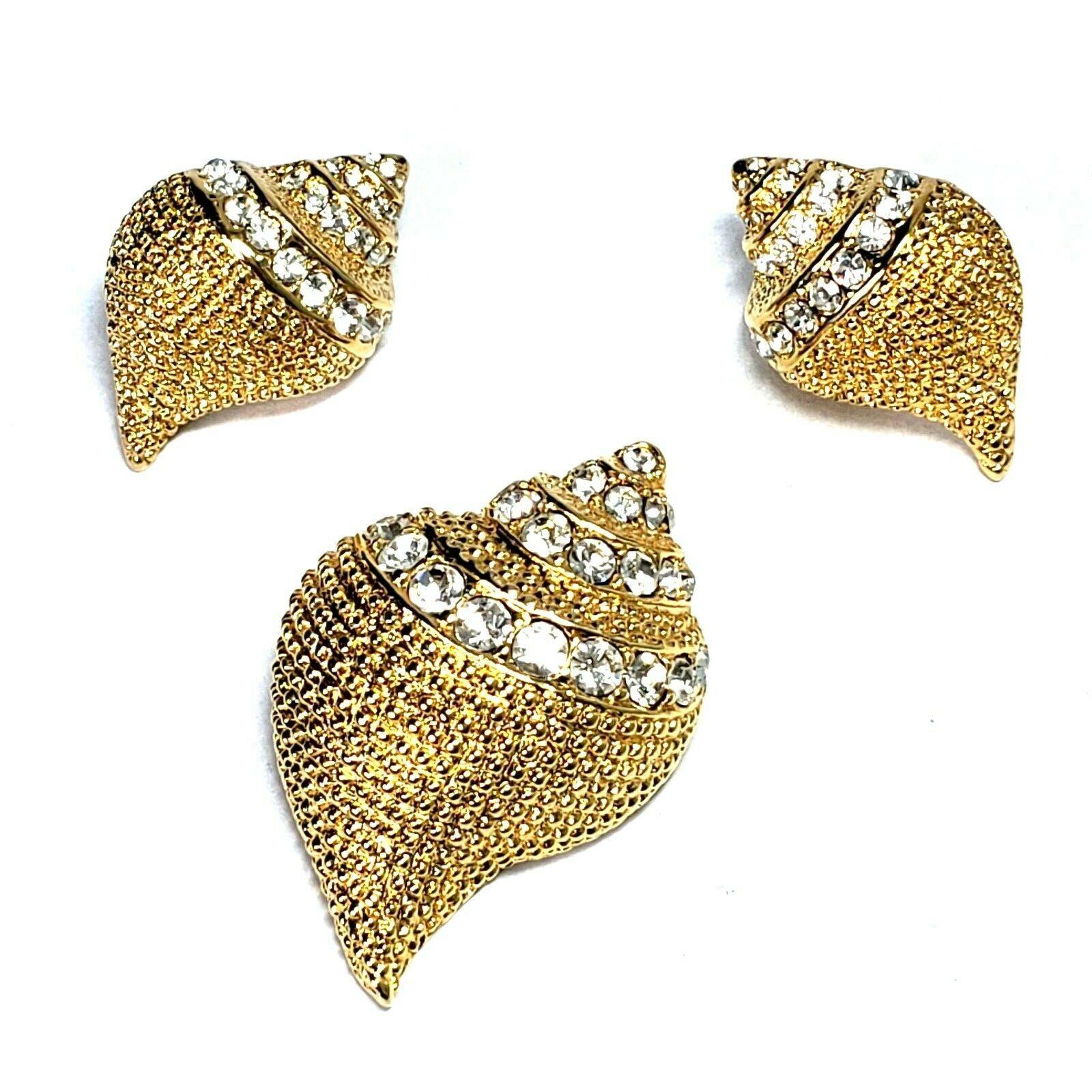 Vintage KJL Kenneth J Lane CONCH Shell Brooch Pin Pendant AND Post Earrings - $39.88