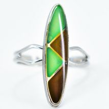 Silver Tone Surf Oval & Triangle Multi-Color Changing Adjustable Mood Ring image 5