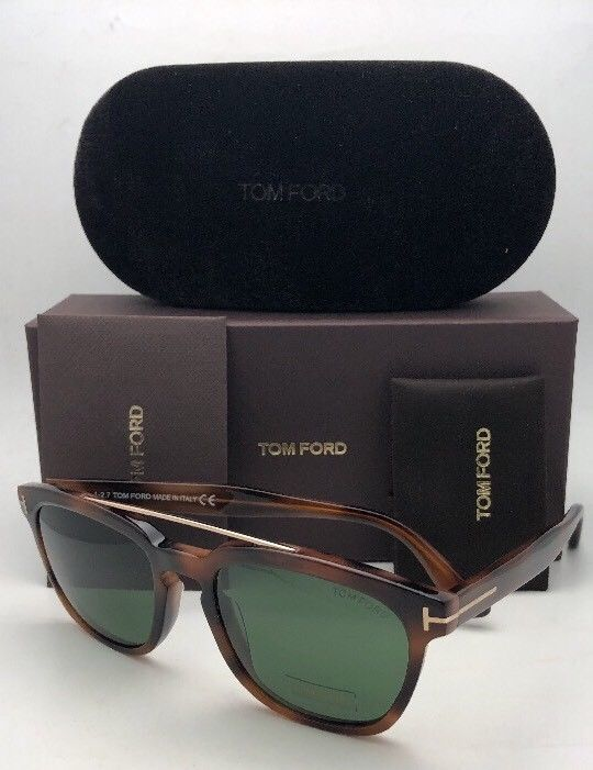 New TOM FORD Sunglasses HOLT TF 516 53N 54-19 145 Tortoise & Gold w/Green Lenses