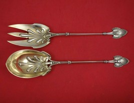 "Lotus by Gorham Sterling Silver Salad Serving Set 2pc Gold Washed 10"" Antique - $909.00"