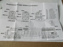 Walters Manline Stock #910-257 Diesel Detail Kit for EMD SD60M HO Scale image 2