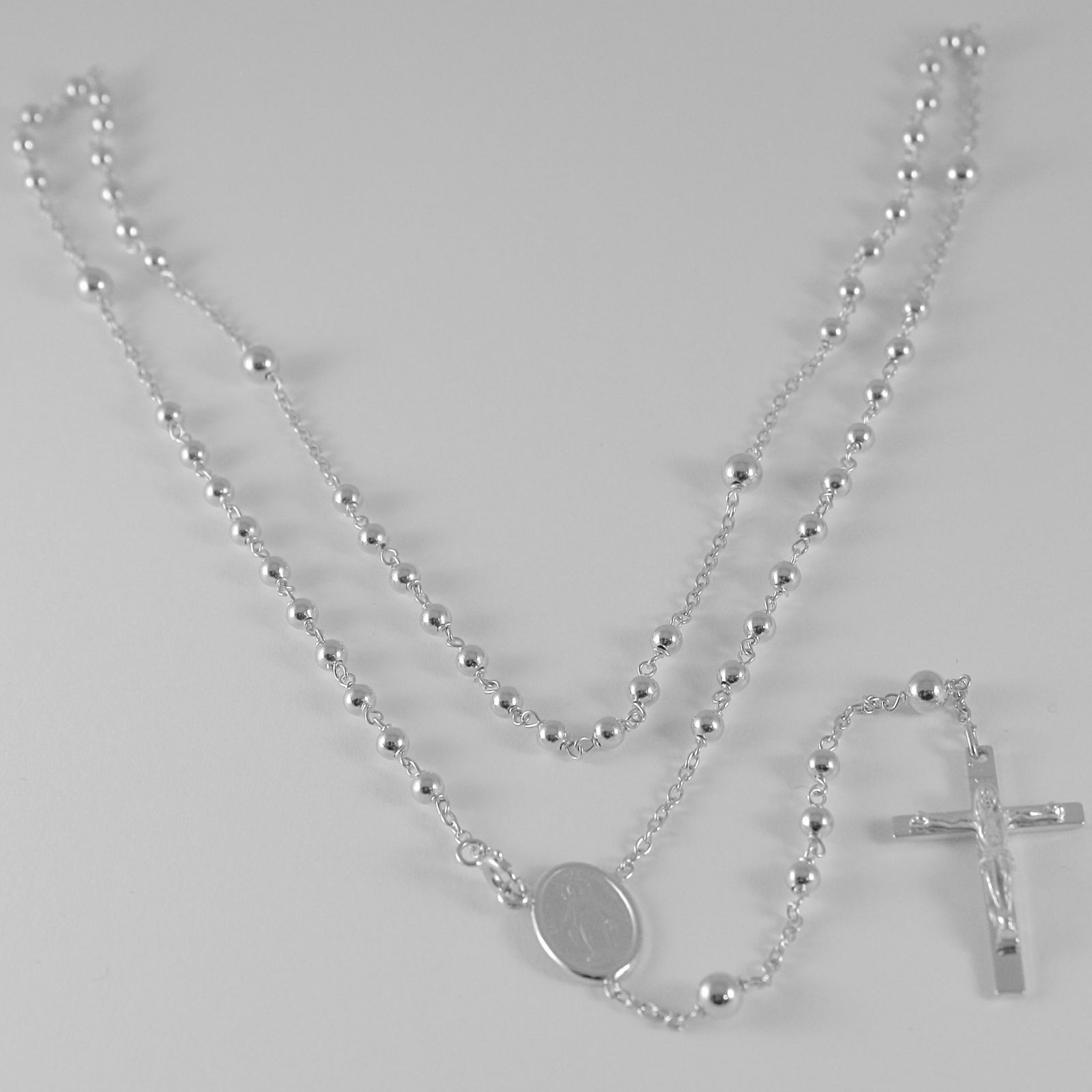 18K WHITE GOLD ROSARY NECKLACE MIRACULOUS MARY MEDAL & JESUS CROSS ITALY MADE