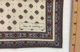 "Jehan de Fabregues Handkerchief Motif Design 16.5"" Vintage Ivory Brown Blue - $12.86"