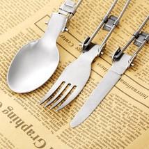 3 Pcs Stainless steel Camping BBQ Hiking Picnic Folding Cutlery Set Kits... - $8.41