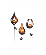 "Metal Stake Solar Light 36.6"" Tall Black Flame With Orange Bulb 1AAA Bat... - $119.99"