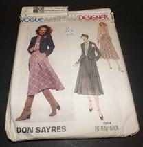 Vogue Don Sayres Designer Dress Vintage Cut/Uncut Sewing Pattern 1964 Si... - $7.69