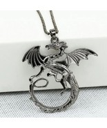 Dragon Pattern Alloy Necklace for Men Women Fashion Jewelry Gift - Silver - $9.99