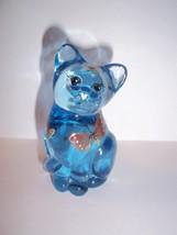 "Fenton Glass Ice Blue ""Butterfly Kisses"" Mini Kitten Cat Figurine - $33.95"