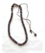 "Purple Cats Eye Bead Necklace 13"" - 22"" Adjustable Handmade - $4.90"