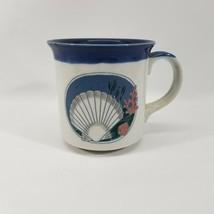 Vintage Otagiri Blue on White Shell and Coral Coffee Mug Original Stickers - $14.88