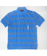 Tommy Hilfiger Mens Polo Shirt Blue White Black Striped Size Medium NWT - $38.79