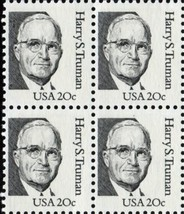1984 Harry S Truman Block of 4 US Postage Stamps Catalog Number 1862 MNH