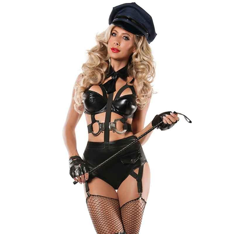 Ay sexy costumes women role playing games hot sexy cops uniforms faux leather lingerie bodysuits
