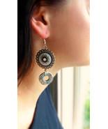 Iron toned earrings Natural jewelry Silver white cute earrings Flower ea... - $23.78