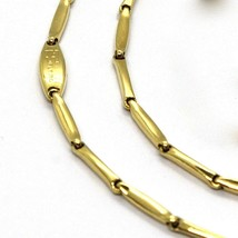 18K YELLOW GOLD CHAIN MINI BONE TUBE LINK 1.5 MM, 20 INCHES, MADE IN ITALY image 2