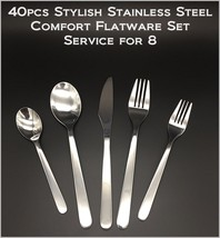40pcs - New Modern, Stylish & Classic Stainless Steel Flatware Set for 8 people - $48.66